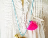 Dinosaur Necklace Tassel Jewelry T-Rex Necklace Girls Necklace Plastic Animal Necklace Neon Jewelry Boho necklace for kids