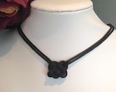Black Corded Celtic knot Necklace With Free Shipping to Canada & USA