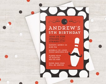 Staches and Strikes Party Invitation