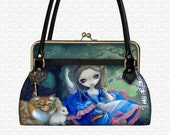 Jasmine Becket-Griffith Alice on Swing Xotic designer handbag, shoulder bag top handle bag kiss lock closure
