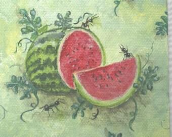 Summer Watermelon with Friends/Mini Original Art.