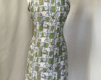 Pretty Floral Vintage 1950's Algo Originals Sheath Wiggle Dress Size medium