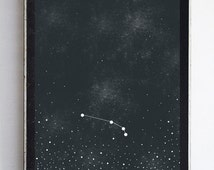 Aries Zodiac Constellation Stars, Night Sky Fine Art Print Home Decor Wall Art 8x10 Night Sky Print Zodiac Home Decor
