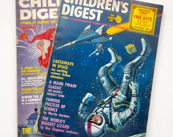 Vintage Children's Digest Magazine Set of 2 1964 Space Sci Fi and Classic Stories