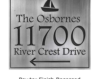 Anchors Away Address Plaque With Sailboat 11x10 inches custom Atlas Signs and Plaques