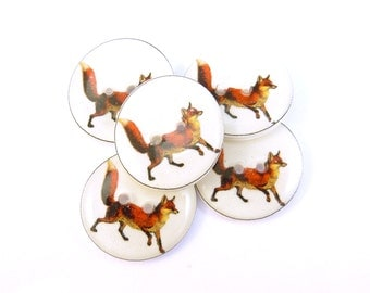 "Buttons. 5 Fox Buttons.  Animal Buttons.  Woodland Animal buttons.  Sewing buttons.   Novelty Buttons. 3/4"" or 20 mm."