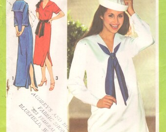 Simplicity 9073 1970s Misses SAILOR Pullover Caftan Dress and Top Pattern Womens Vintage Sewing Size 12 Bust 34 OR 6 & 8 B 30 31 UNCUT