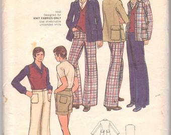 Butterick 3021 1970s Mens Stretch Knit Vest Shorts Pants Jacket Pattern Mod Suit Unique Pockets Mans Vintage Sewing Pattern Chest 40 Uncut