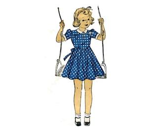 1940s Girls Dress Pattern Puff Sleeves Johnny Collar Pin Tuck Skirt Basque Waist Dress DuBarry 2326 Size 4 UNPRINTED Vintage Sewing Pattern