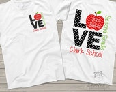 Love school FRONT and BACK personalized ADULT shirt - perfect for teachers