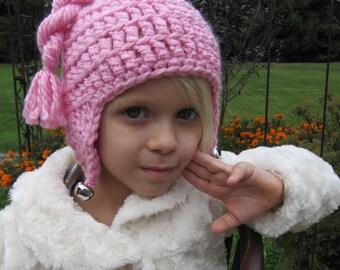 Pink Jingle Bell Hat, Girls Earflap Hat, Pink Ear Flap Hat, Crocheted Winter Hat, Kids Crochet Hat, One Size Fits Most Girls 3 -10 years old