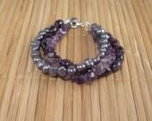 Gemstone Bracelet Amethyst Purple Pearl Multistrand Bracelet Purple Amethyst 3 Strand Bracelet Purple Pearl Multistrand Silver Pearl Jewelry