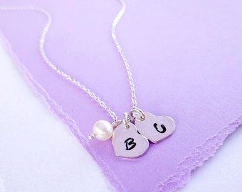Two Hearts necklace, Silver heart necklace with initials, two initials necklace, husband wife, best friends gift, mothers necklace, sisters