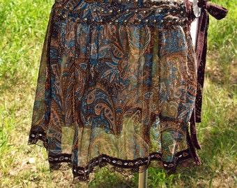 Skirt Hip wrap Belly Dance Tribal Fusion Paisley L/XL Handmade