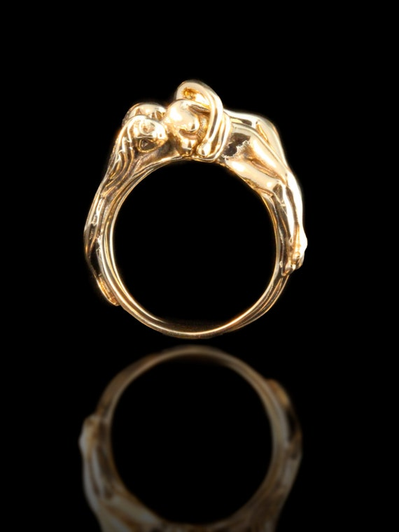 Gold Wedding Ring People Ring Puzzle Ring 14k Gold Spooning