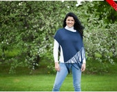 ON SALE Navy Blue Shawl Poncho with fringes - Bamboo Eco Friendly Fashion Knitting Accessories