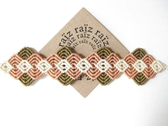 Pastel Textile Bracelet . Handwoven Fiber Jewelry Micro Macrame . Boho Chic . by .. raiz ..