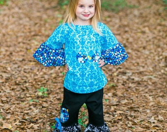 Ruffle Pant Outfit - Girls Blue Outfit - Girl Birthday Outfit - Peasant Top - Little Girl Outfit - Girls Ruffle Pants - sz 2T to 8 years