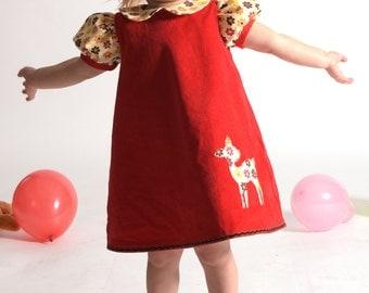BABY DEER girls dress, fall dress, autumn dress, toddler dress, baby girl dress, corduroy dress, floral dress, birthday party, retro dress