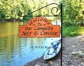 Campsite Sign  - Custom Carved Cedar RV Camping Sign - Includes Round Garden Holder