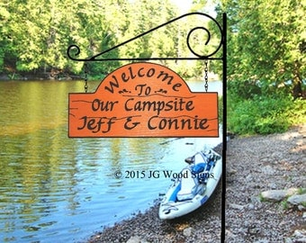 Wood Campsite Sign  - Custom Carved Cedar RV Camping Sign - Includes Round Garden Holder