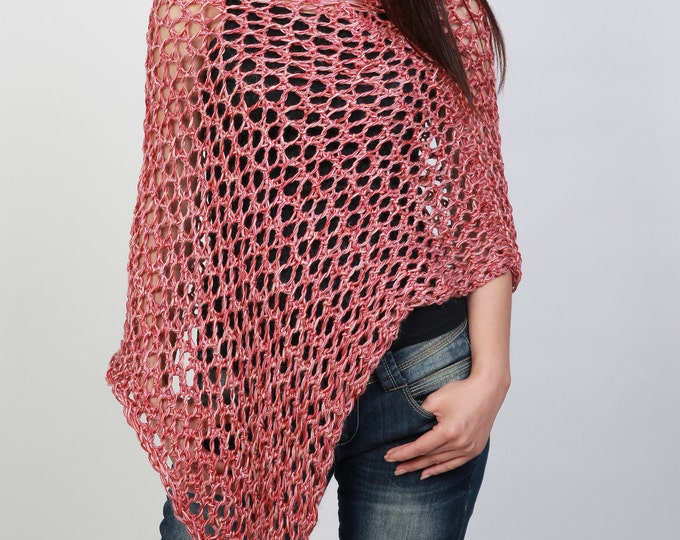 Hand Knit Little cotton poncho Scarf in brick red-ready to ship