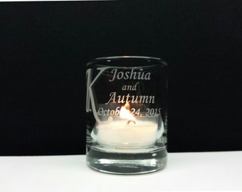 72 Personalized Favors Engraved Glass Votive Holders Personalized Wedding Decor Custom Surname Wedding Keepsake Candle Holder
