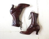 Vintage Edwardian Boots / Brown Lace Up Boots / Antique Boots / Size 6 6.5
