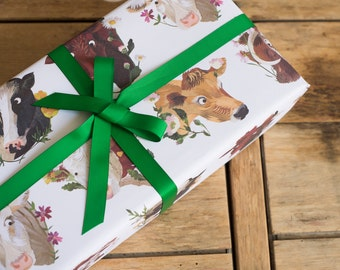 Cows & Flowers Wrapping Paper - 100% Recycled