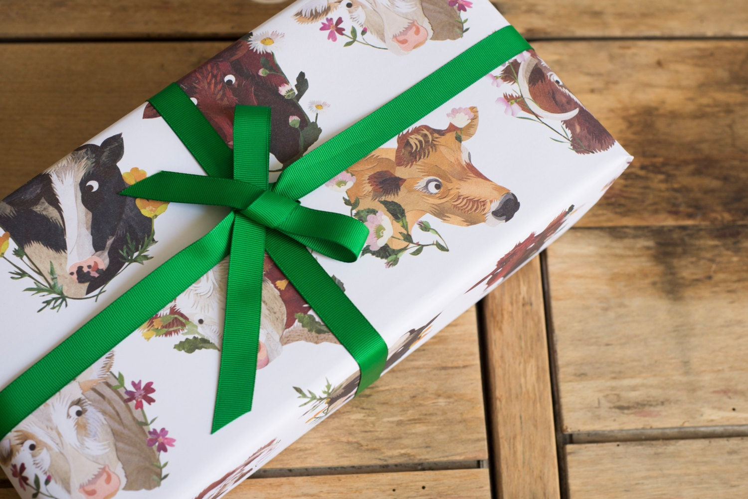 cows flowers wrapping paper 100 recycled. Black Bedroom Furniture Sets. Home Design Ideas