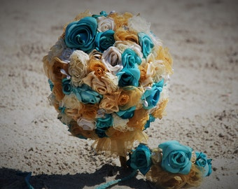SALE! OOAK Handmade Bridal Bouquet. Exquisite Hand Rolled flowers in Antique lace, silk,and ribbon.Aqua, creme, antique gold, and turqouise.