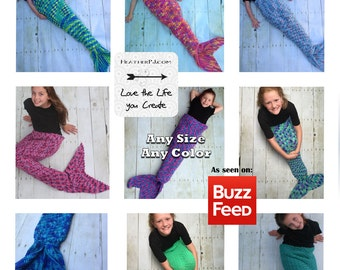 Any Size Mermaid Tail Crocheted Youth Girl Adult Small Medium Large Handmade Blanket Cocoon Costume in the USA Little Mermaid Custom