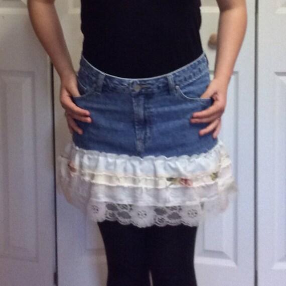 S/M Upcycled Denim Skirt/Recycled Blue Jean Skirt/Repurposed Clothing/Short Skirt/Ruffled Lace/Mini Skirt