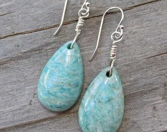 Green Blue Amazonite Natural Gemstone Silver Earrings, Healing Gemstone Earrings