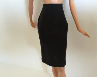 Handmade Barbie Clothes Basic Black Straight Skirt Designs by P D Reneau