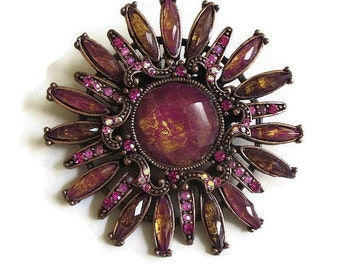 Vintage Flower Brooch in Shades of Topaz, Pink and Fuchsia Art Glass Rhinestones