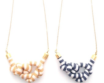 Mini Stripe Rope Knot Long Necklace