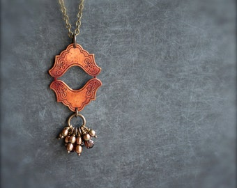 SALE - Rust Red Patina Plaque Pendant Necklace Wire Wrap Pearl Long Vintage Handmade Boho Jewellery