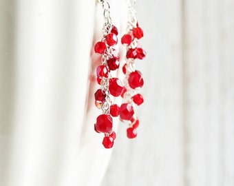 Red Dangle Earrings - Red Cluster Earrings with Silver Plated Hooks, Cherry Red Beaded Earrings, Holiday Jewelry, Christmas Red Earrings