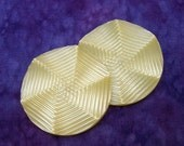 MAMMoTH PAiR Vintage Buttons 44mm - 1 3/4 inch Pastel Yellow Spinwheel Plastic Buttons - 2 VTG NOS Etched Luminescent Shank Buttons PL067