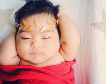 Gold Leaf Halo Headband - Crown - Newborn - Baby Girl - Photo Prop - Bohemian