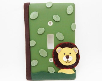 Lion Light Switch or Outlet Cover - Jungle Nursery - Children's Safari Themed Room. Decor - Green, Brown - Toggle Cover or Rocker Cover