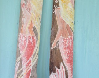 Hand Painted Coral Mermaids On Driftwood
