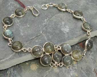 Labradorite Bracelet ~ Labradorite Round Cabochons Set in Sterling Silver Bezels ~ 7 1/2 inches