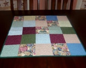 Quilted Table Runner, Handmade, 26x26 Inches, Teddy Bears, Square Table Topper, Machine Quilted