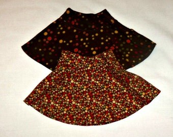 18 Inch Doll Skirts 2, Brown, Orange, Polka Dots, Full Cotton, American Made, Girl Doll Clothes, Summer Skirts, Sale Priced