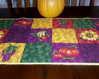 Quilted Autumn Table Runner, Handmade, 18x43 inches, Fall Table Topper, Sale Priced, Machine Quilted