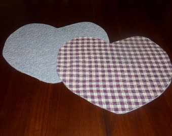 Handmade Quilted Heart Placemats, Set of Two, 13x15 Inches, Burgandy Green Plaid Homespun , Machine Quilted