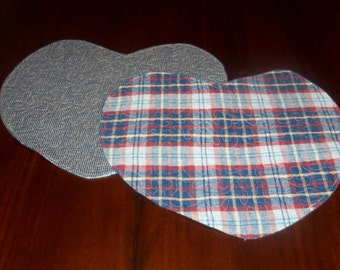 Quilted Heart Placemats, Handmade,  Set of Two, 13x15 Inches, Blue Red Plaid Homespun, Machine Quilted