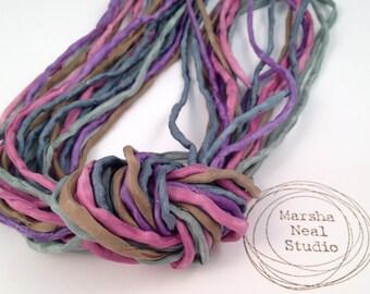 Hand Dyed Silk Ribbon - Silk Cord - DIY - Jewelry Supplies - Wrap Bracelet - Craft Supplies - 2mm Silk Cord Strands Muted Garden Colors